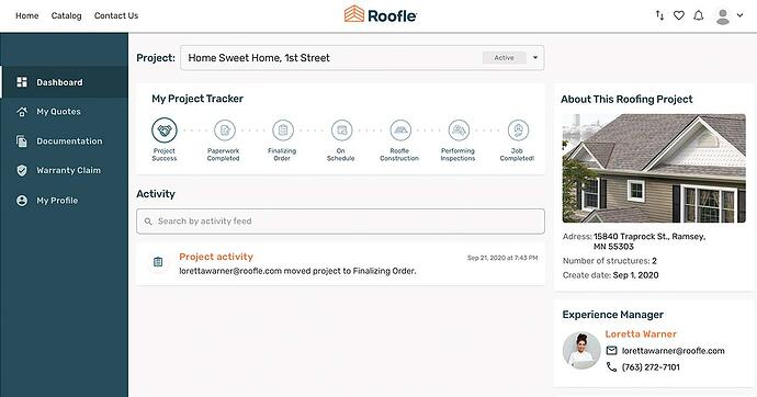 roofing customer portal with roof tracker